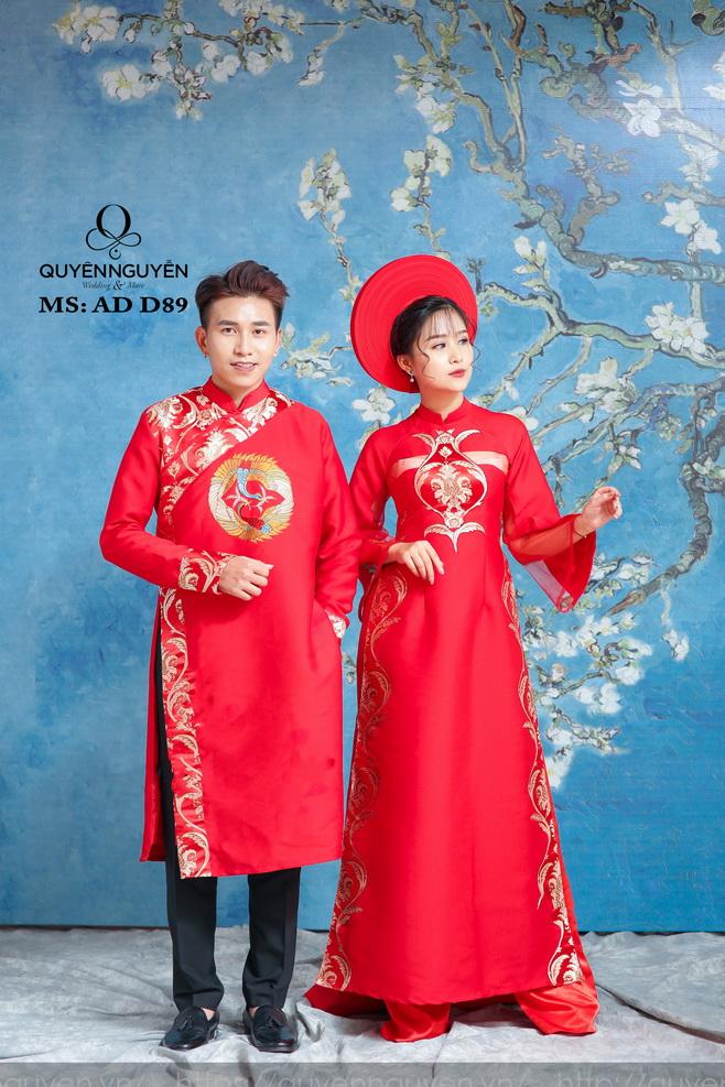 Áo dài đỏ AD D89