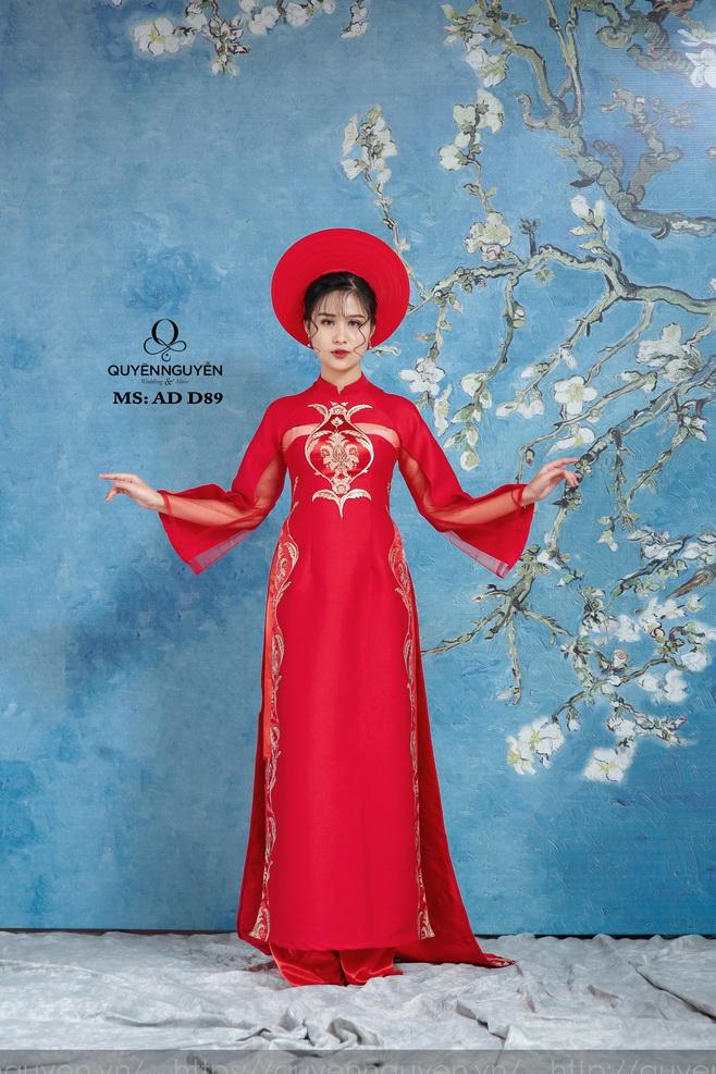 Áo dài cưới màu đỏ AD D89