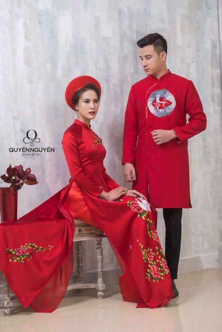 Áo dài đôi nam nữ đỏ truyền thống