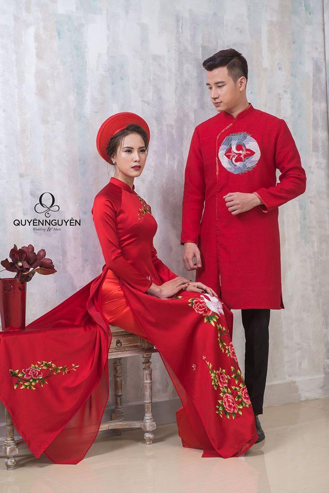 5 mẫu áo dài chú rể màu đỏ