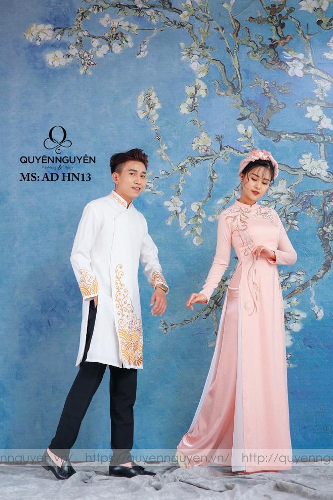 Áo dài đôi hồng nhạt HN13