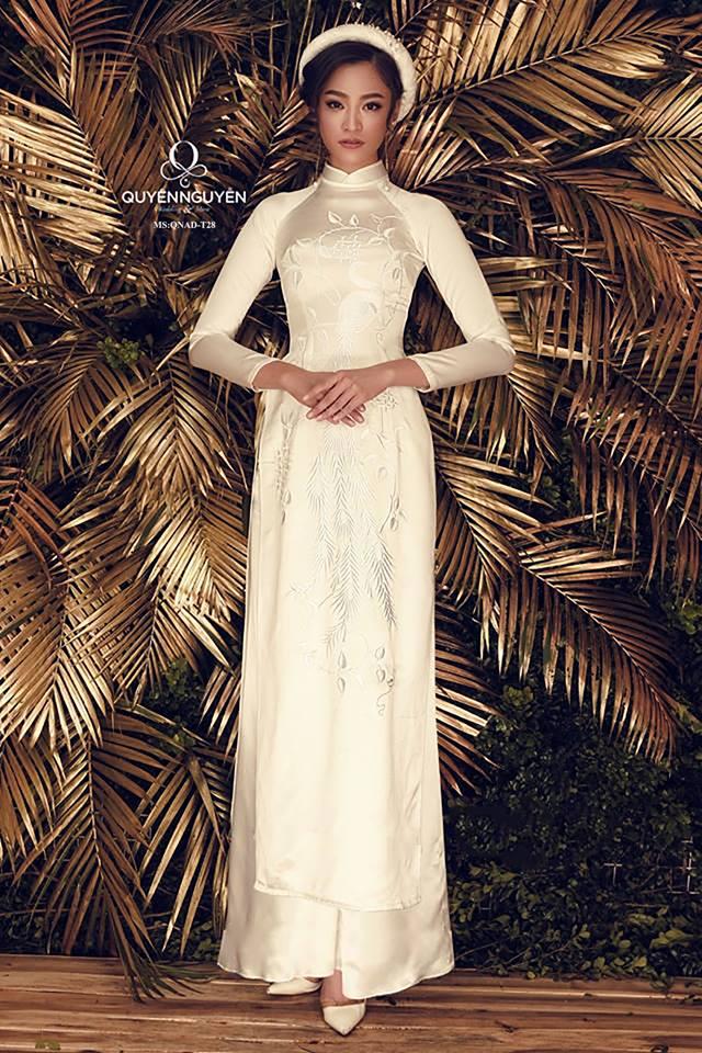 10 mẫu áo dài cưới màu kem
