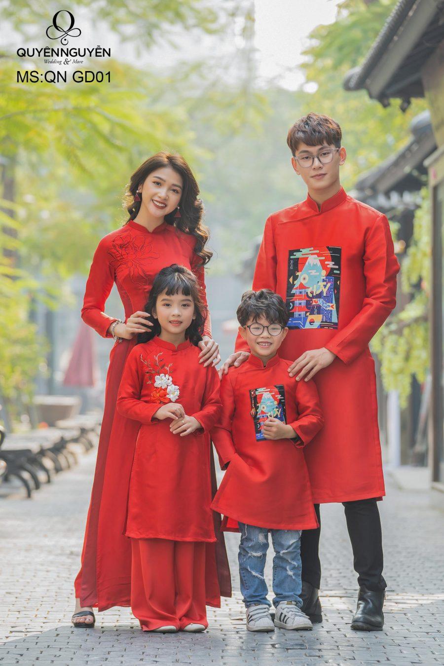 12 mẫu áo dài cho trẻ em ngày tết