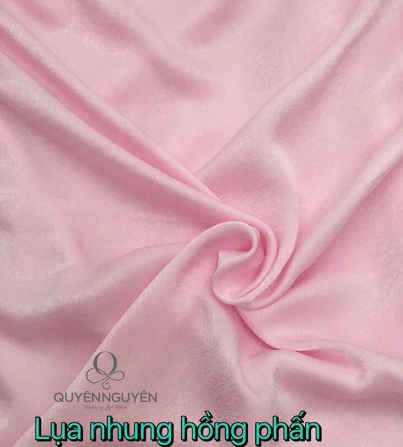 Vải áo dài thêu tay lụa nhung hồng phấn