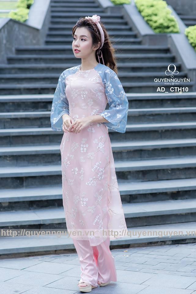 Áo dài cách tân màu hồng CTH10