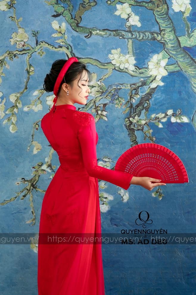 Áo dài đỏ AD D80