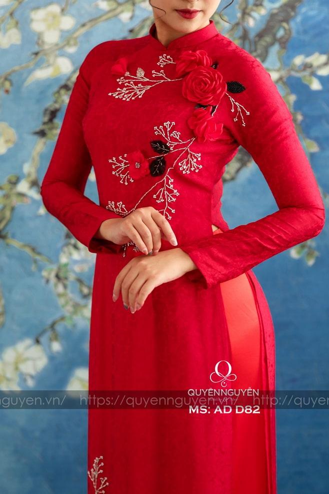 Áo dài đỏ AD D82