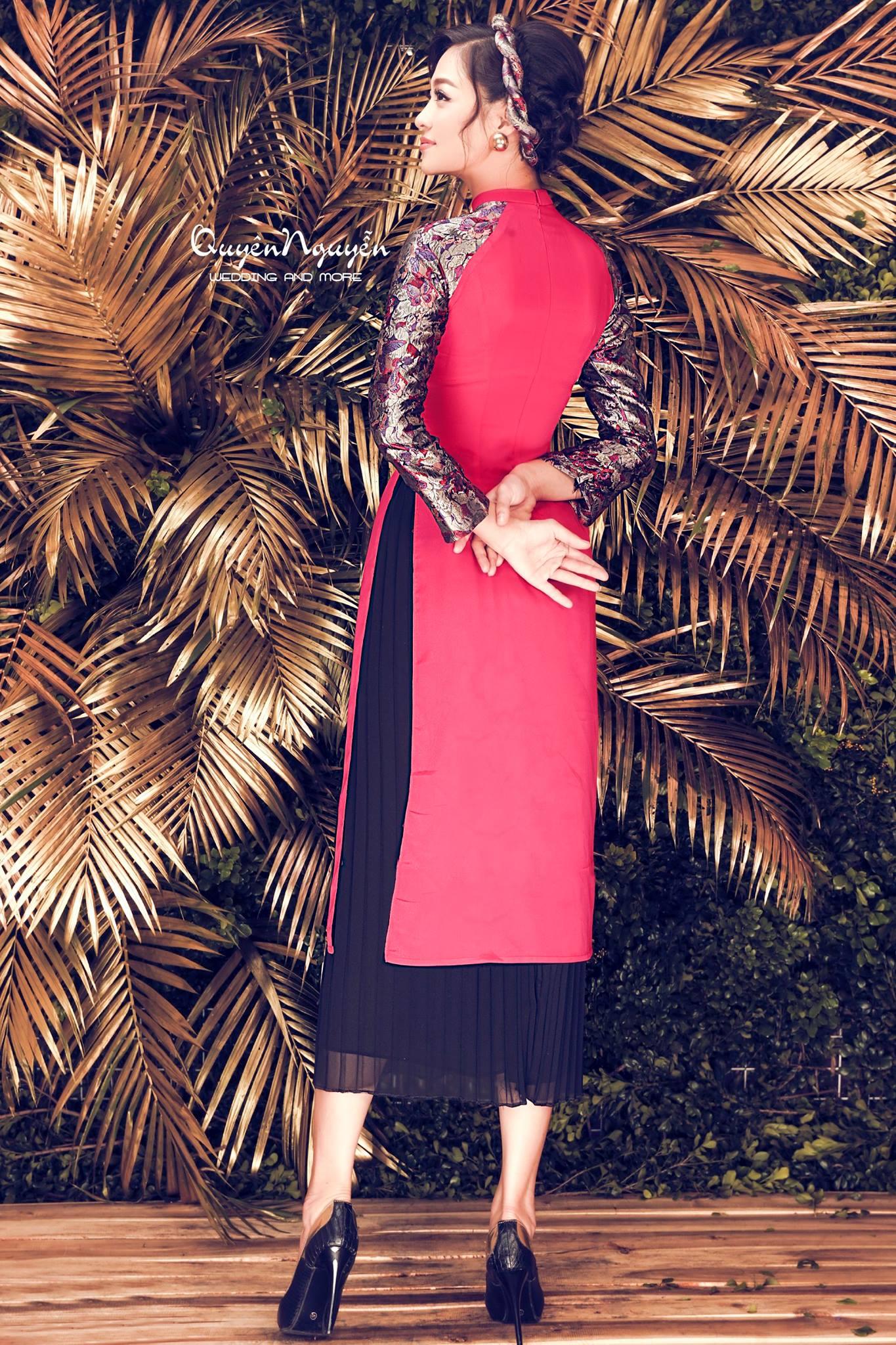 Áo dài cách tân nữ gấm màu đỏ