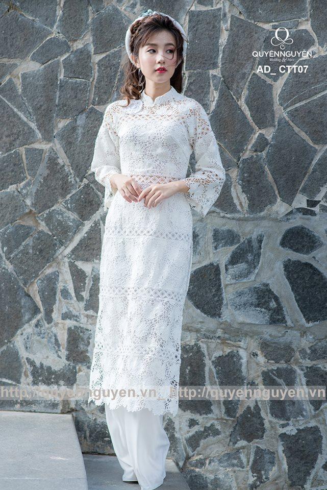 Áo dài cách tân nữ màu trắng