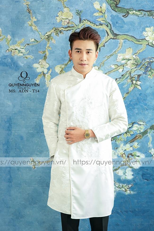 Áo dài nam màu trắng ADN T14