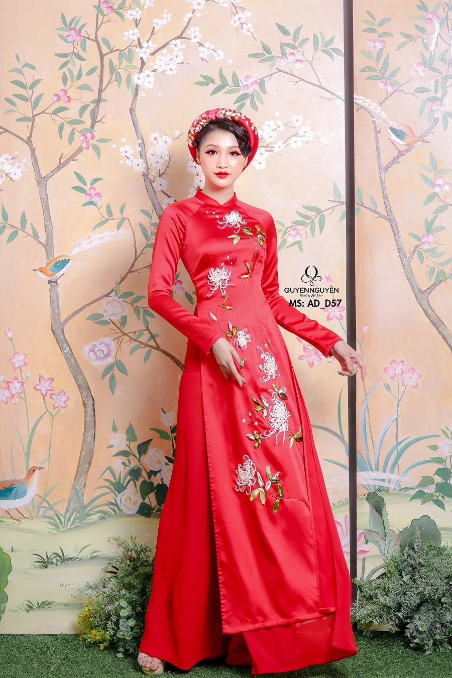Áo dài màu đỏ AD D57