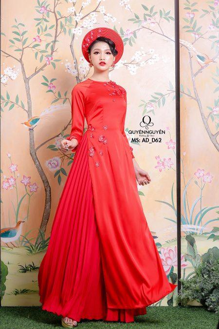 Áo dài màu đỏ AD D62