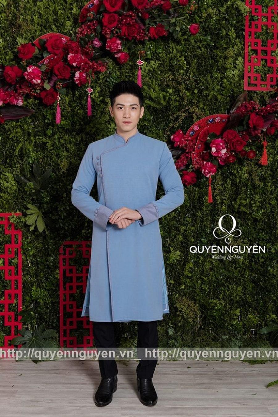 Áo dài cách tân nam xanh trơn