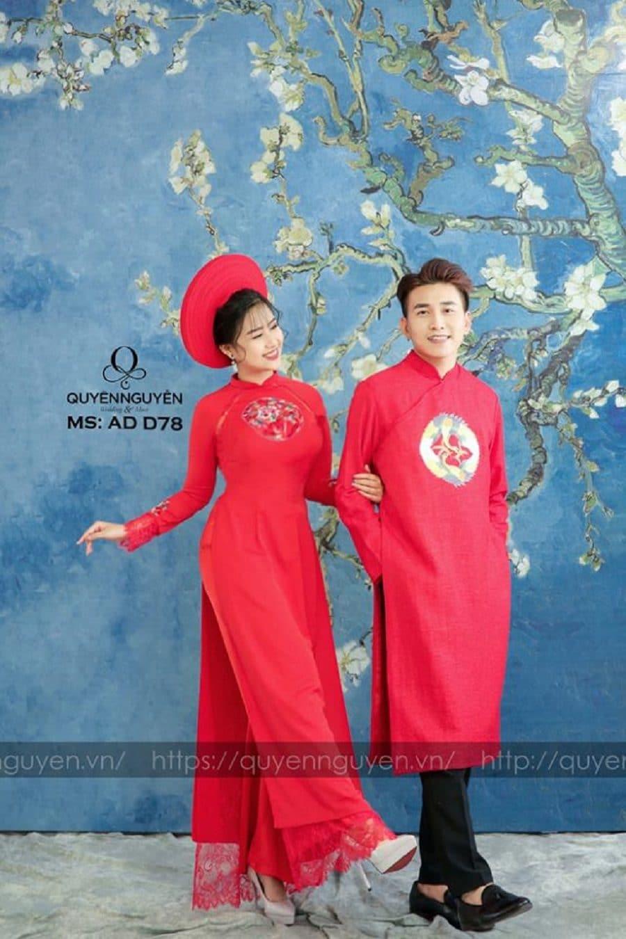 Áo dài đôi đỏ AD D78