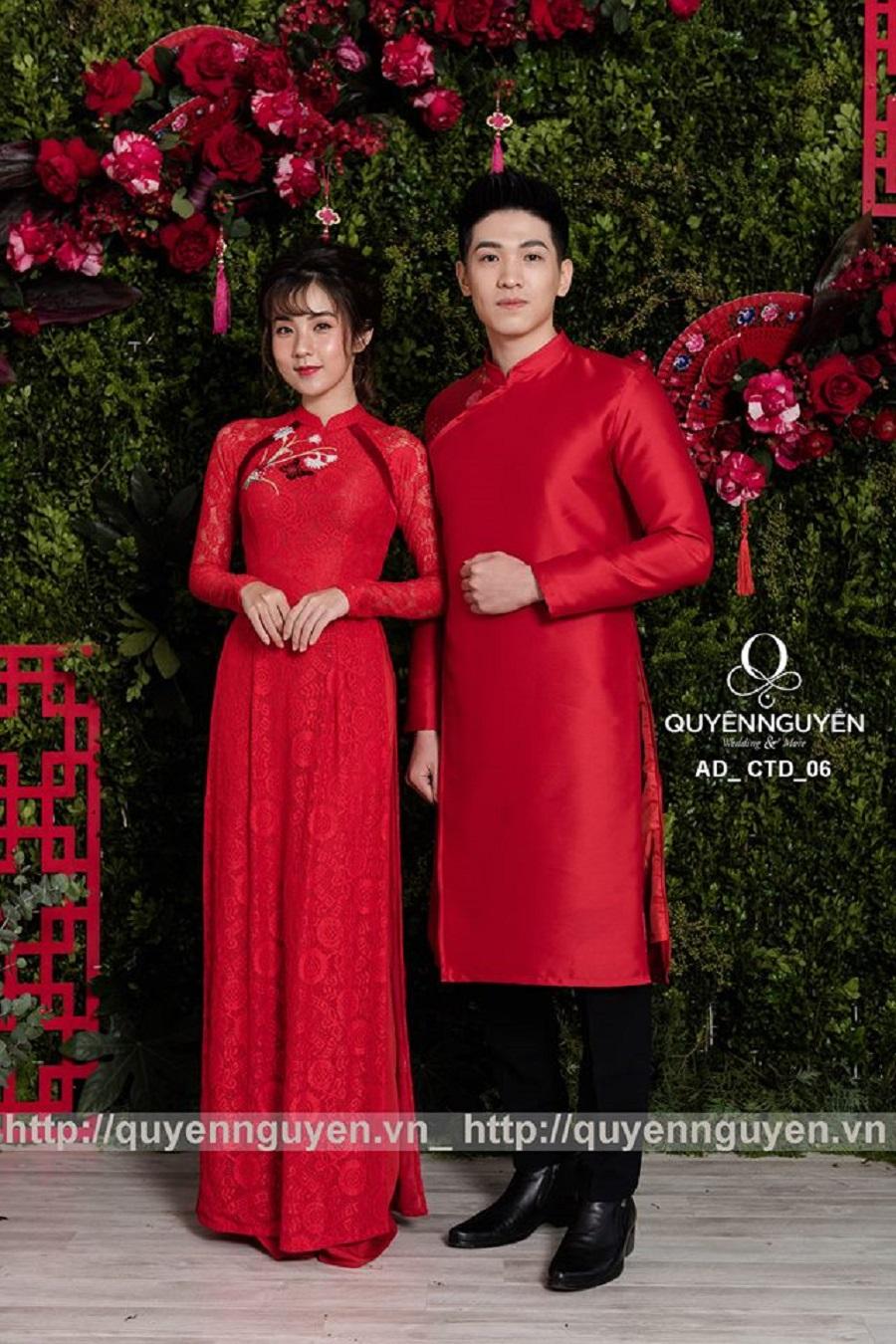 Áo dài cặp đôi ren màu đỏ