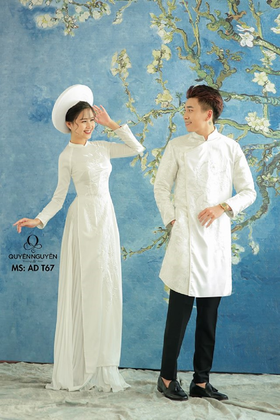 Áo cặp đôi màu trắng thêu họa tiết long phượng
