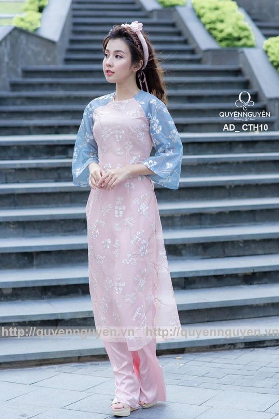 Áo dài cách tân hồng hoa mai