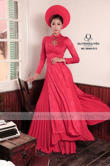 10 mẫu áo dài cưới trơn quý phái