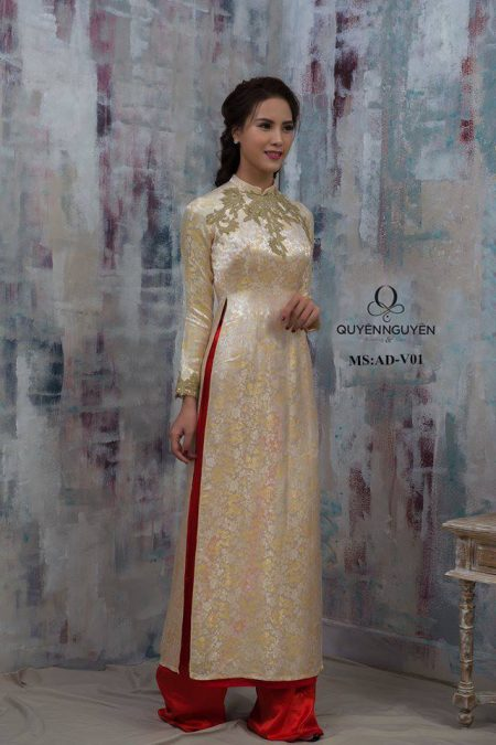 Áo dài cưới đơn giản vàng đồng