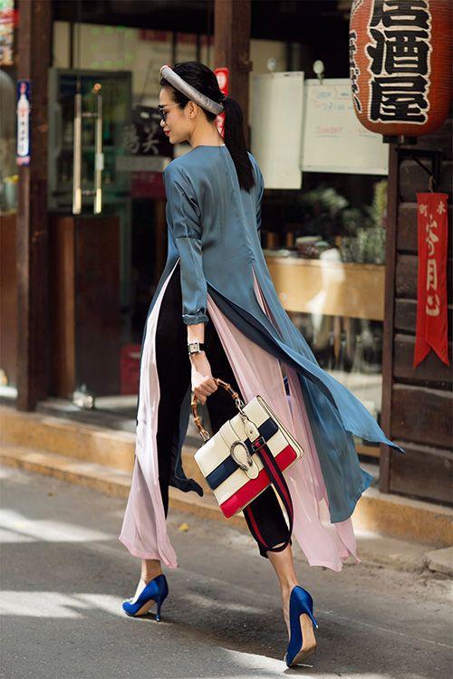 Mặc áo dài cách tân mang giày Ketten heels đế thấp