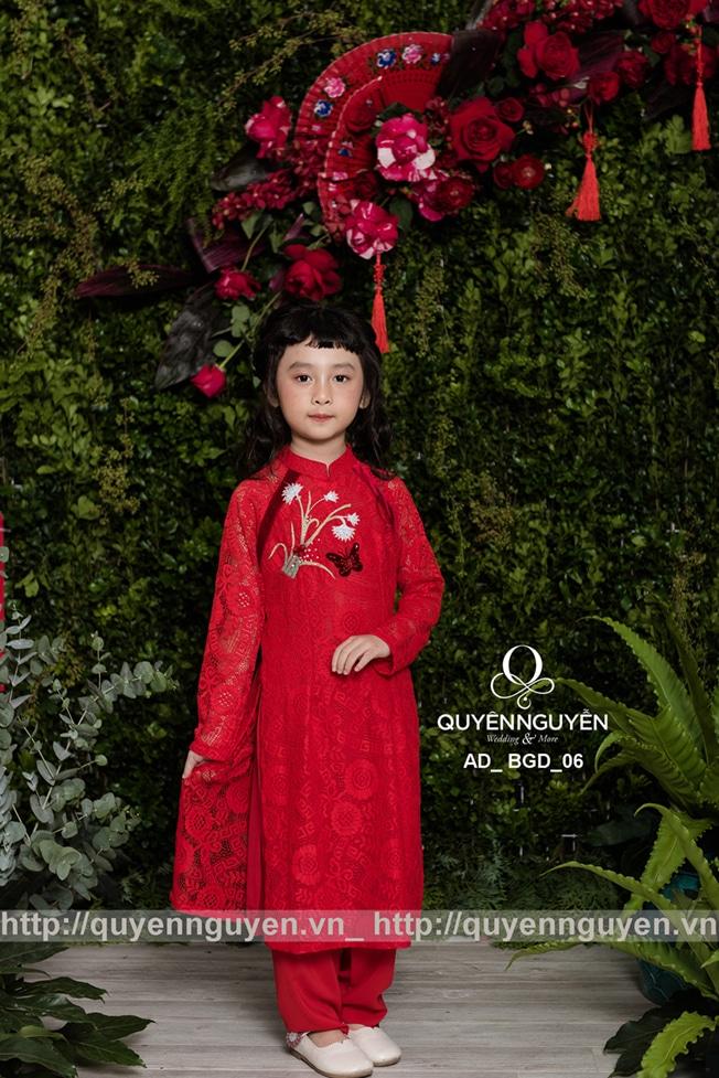 Áo dài bé gái màu đỏ AD BGD06