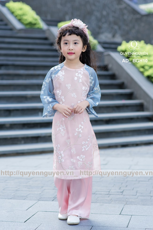 Áo dài bé gái ren hồng thêu hoa mai AD BGH10