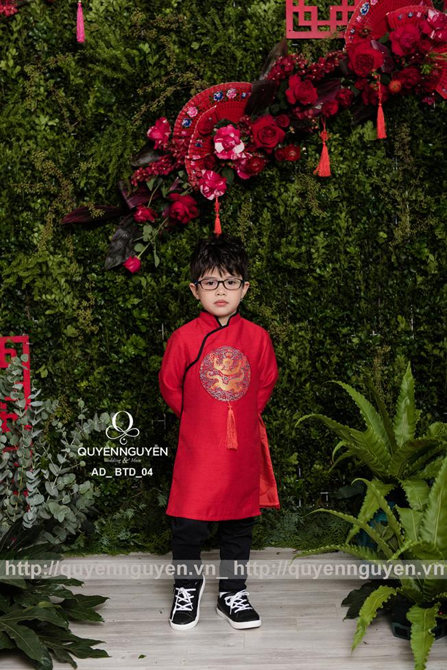 Áo dài bé trai màu đỏ thêu rồng AD BTD04