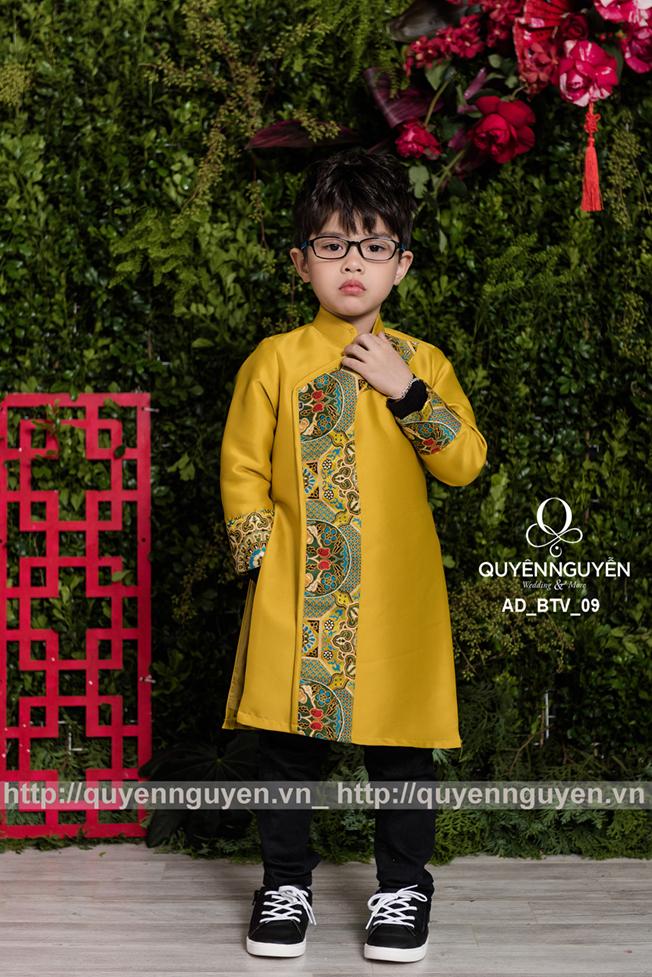 Áo dài bé trai màu vàng AD BTV09