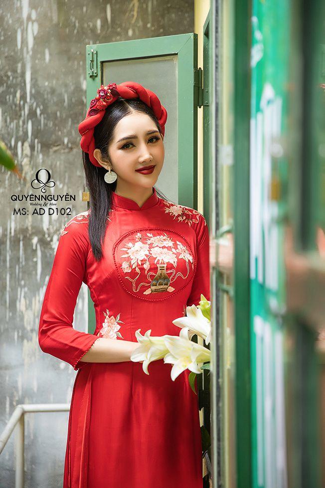 12 mẫu áo dài cưới đỏ trơn