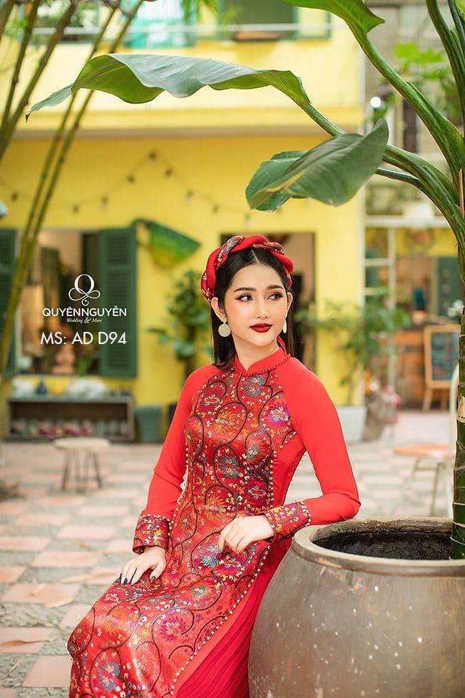 Áo dài đỏ AD D94