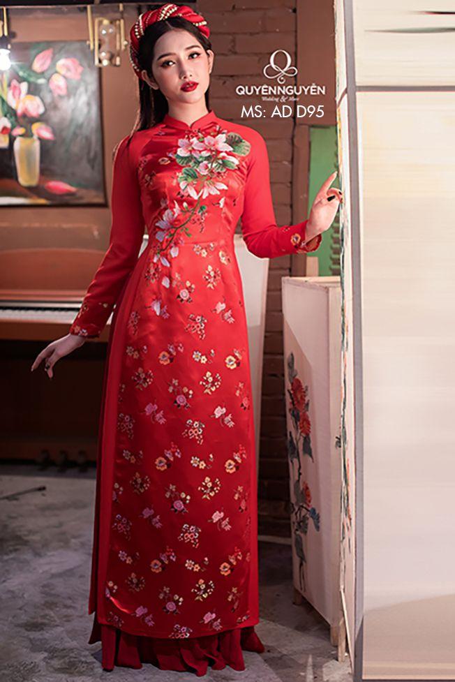 Áo dài đỏ AD D95