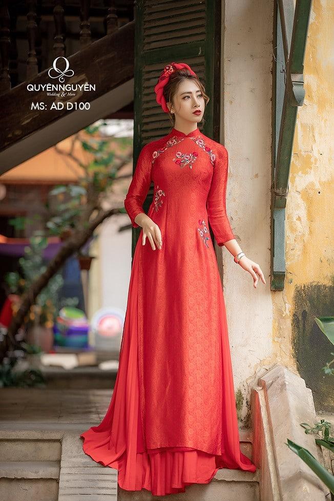 Áo dài đỏ AD D100