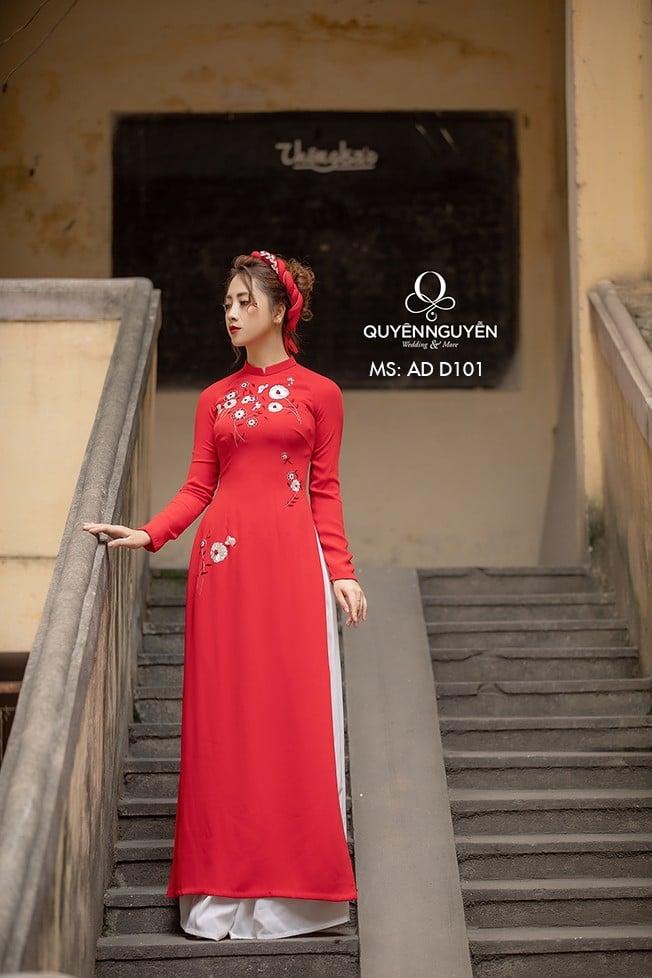 Áo dài đỏ AD D101