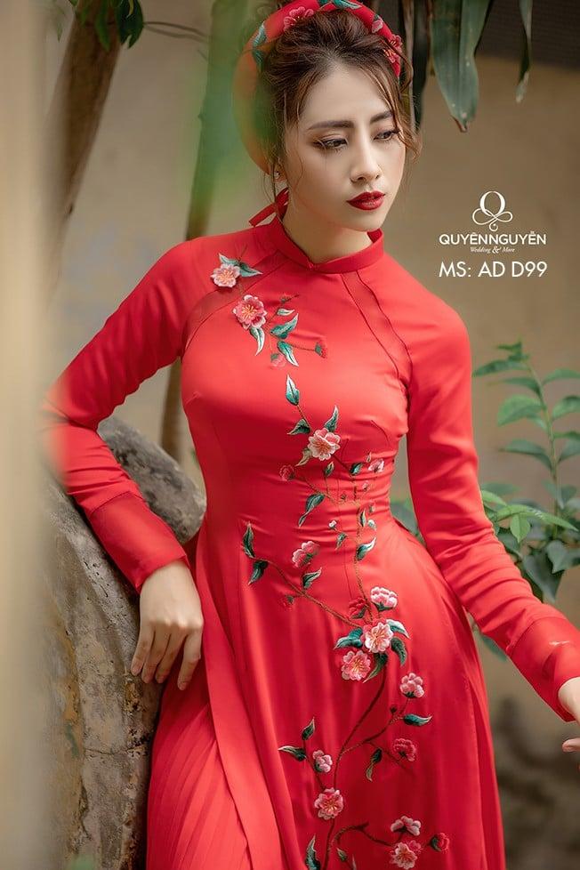 Áo dài đỏ AD D99