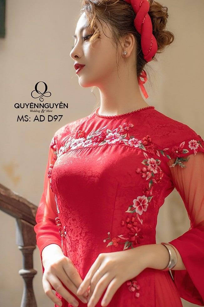 Áo dài đỏ AD D97