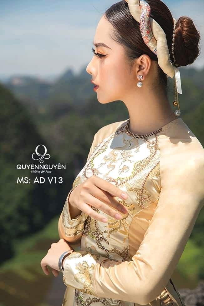 Áo dài màu vàng AD V13