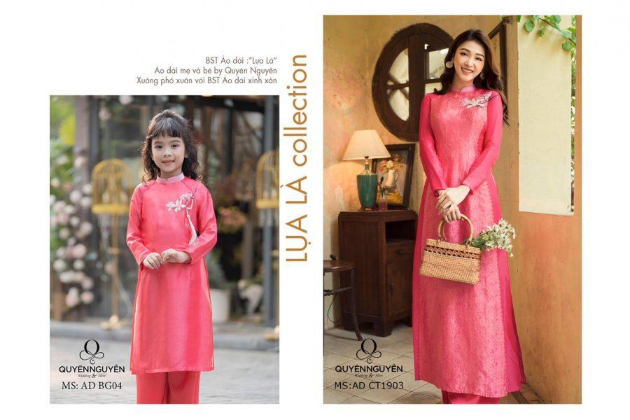 Áo dài cách tân cho mẹ và bé màu hồng