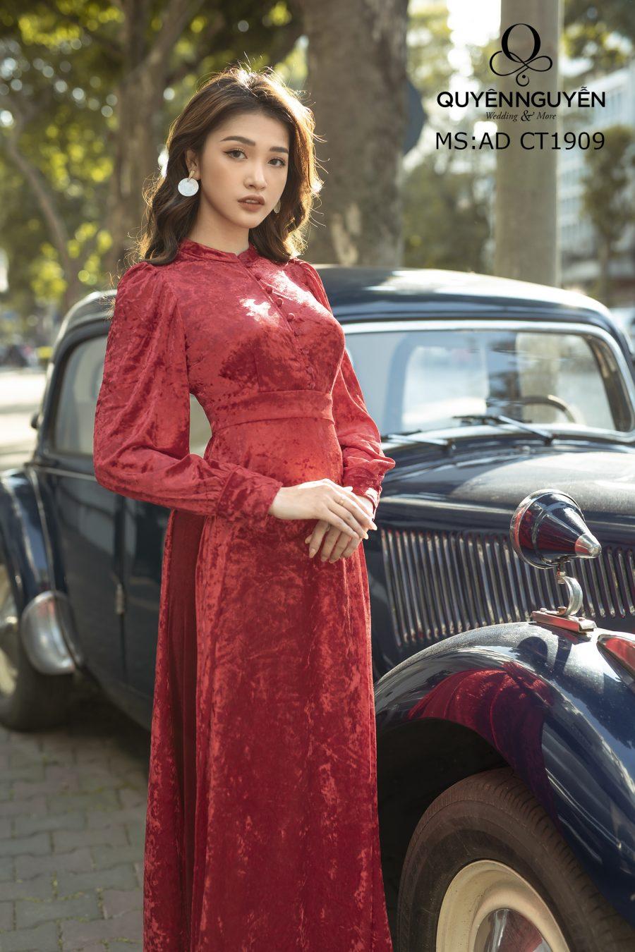 Áo dài nhung cách tân màu đỏ AD CT1909