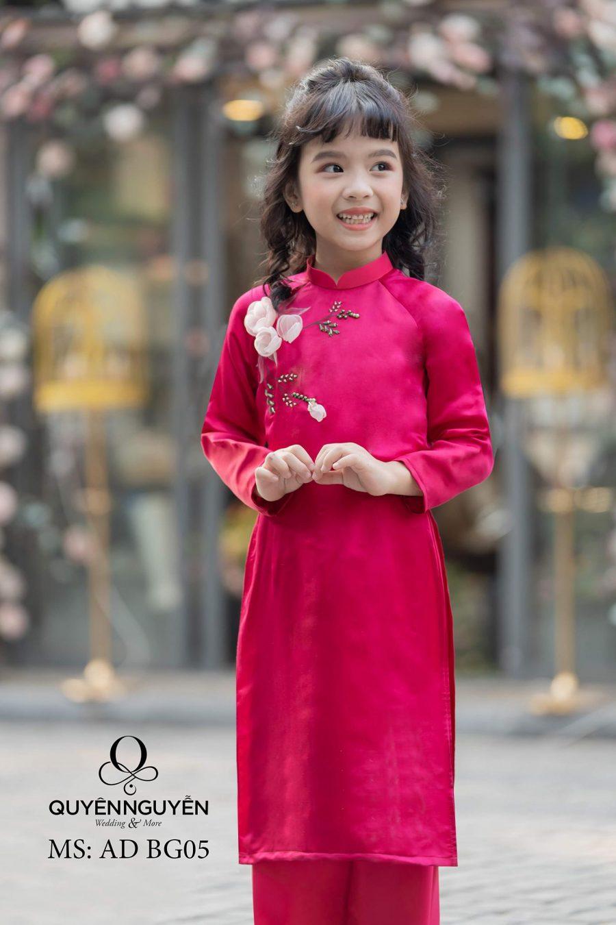 Áo dài bé gái hồng cánh sen hoa đính nổi AD BG05