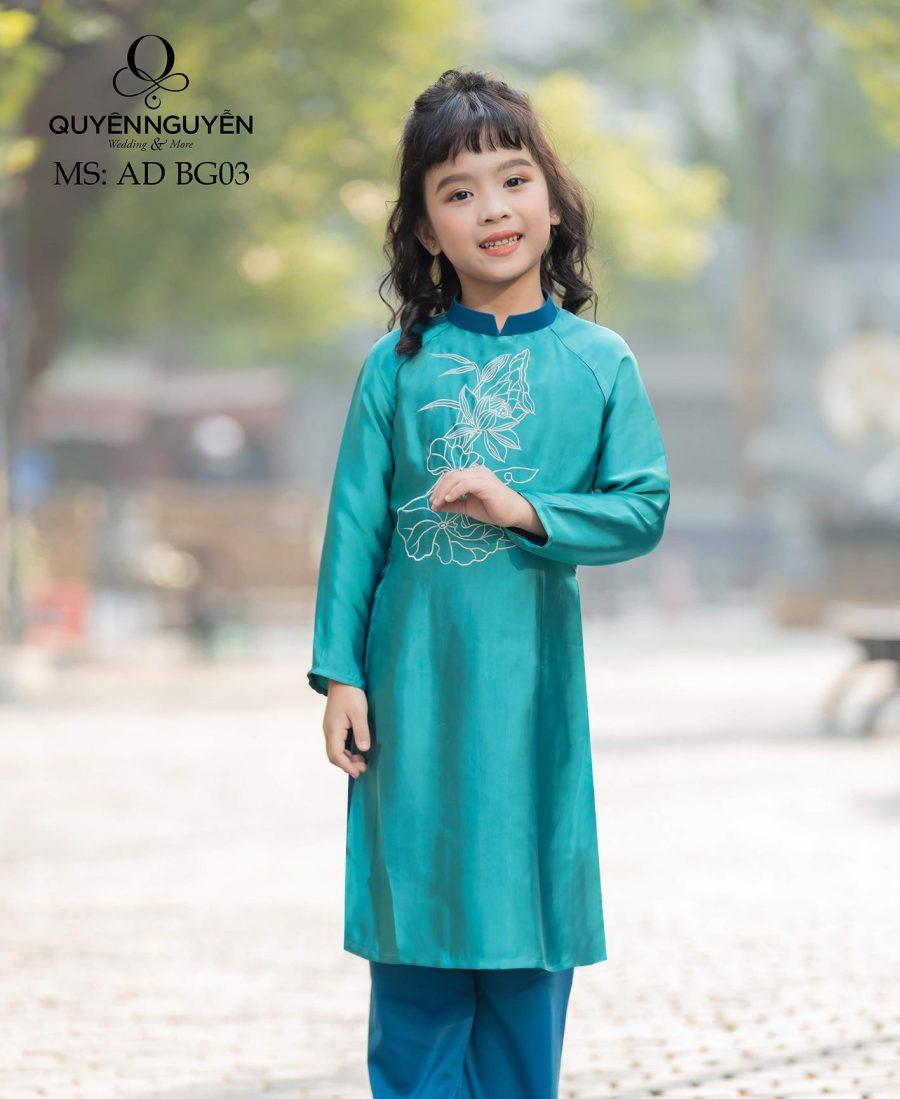Áo dài bé gái màu xanh cách tân họa tiết sen AD BG03