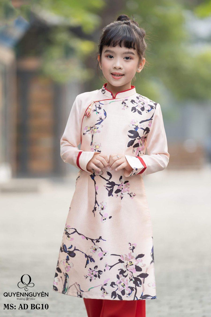Áo dài bé gái hồng pastel họa tiết đào in chìm AD BG10