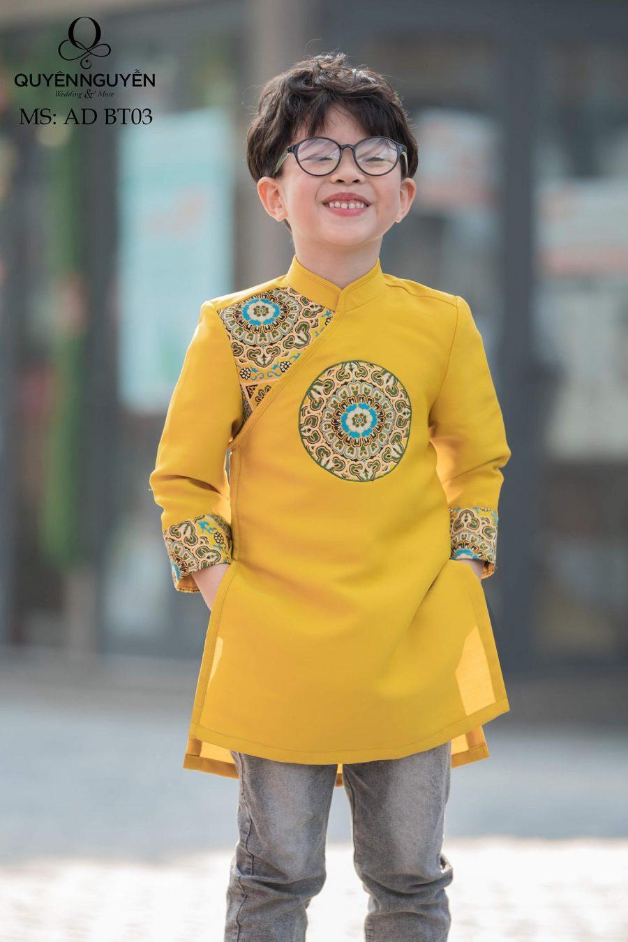Áo dài bé trai màu vàng tafta Hàn họa tiết gấm AD BT03