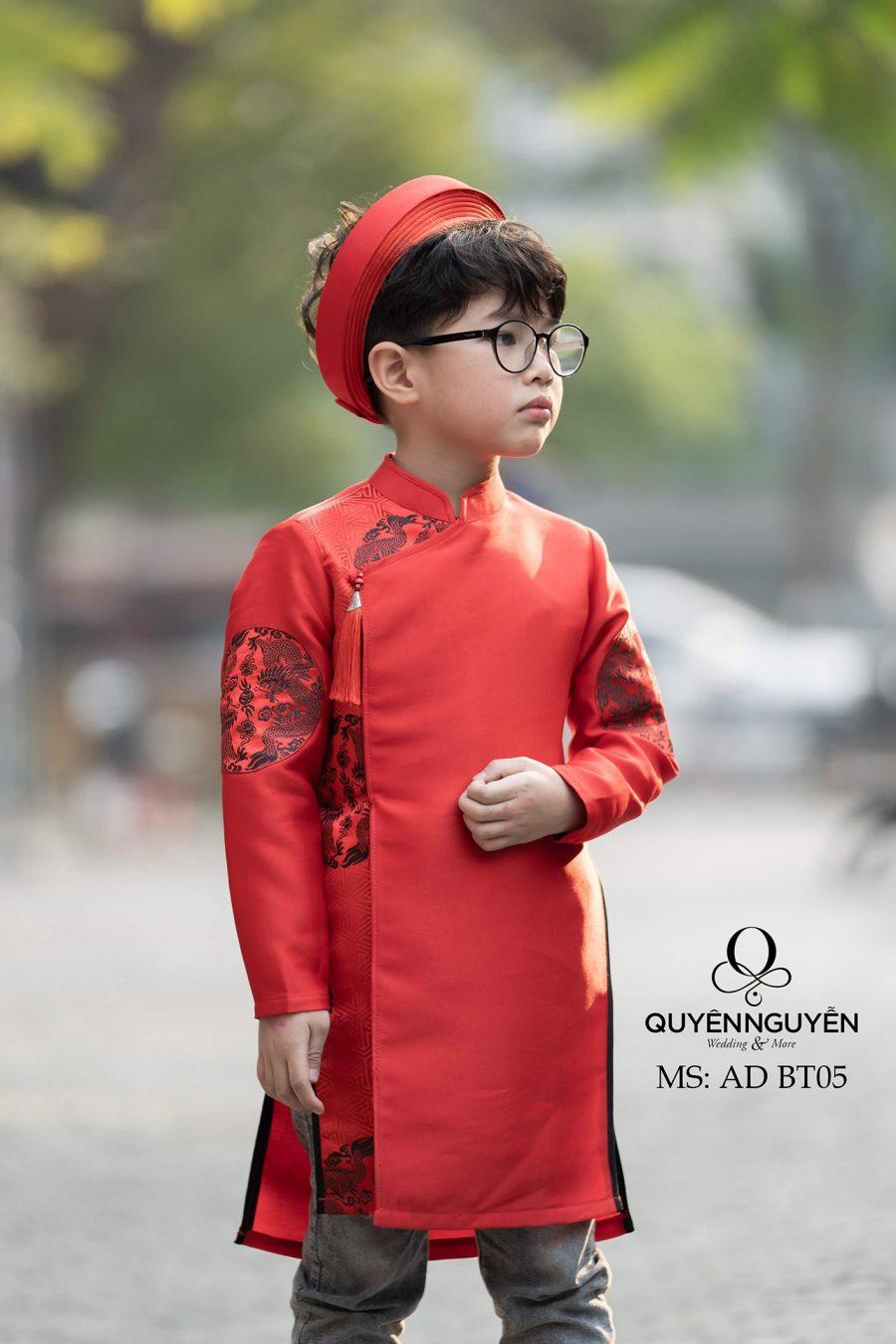 Áo dài bé trai màu đỏ họa tiết rồng phượng AD BT05