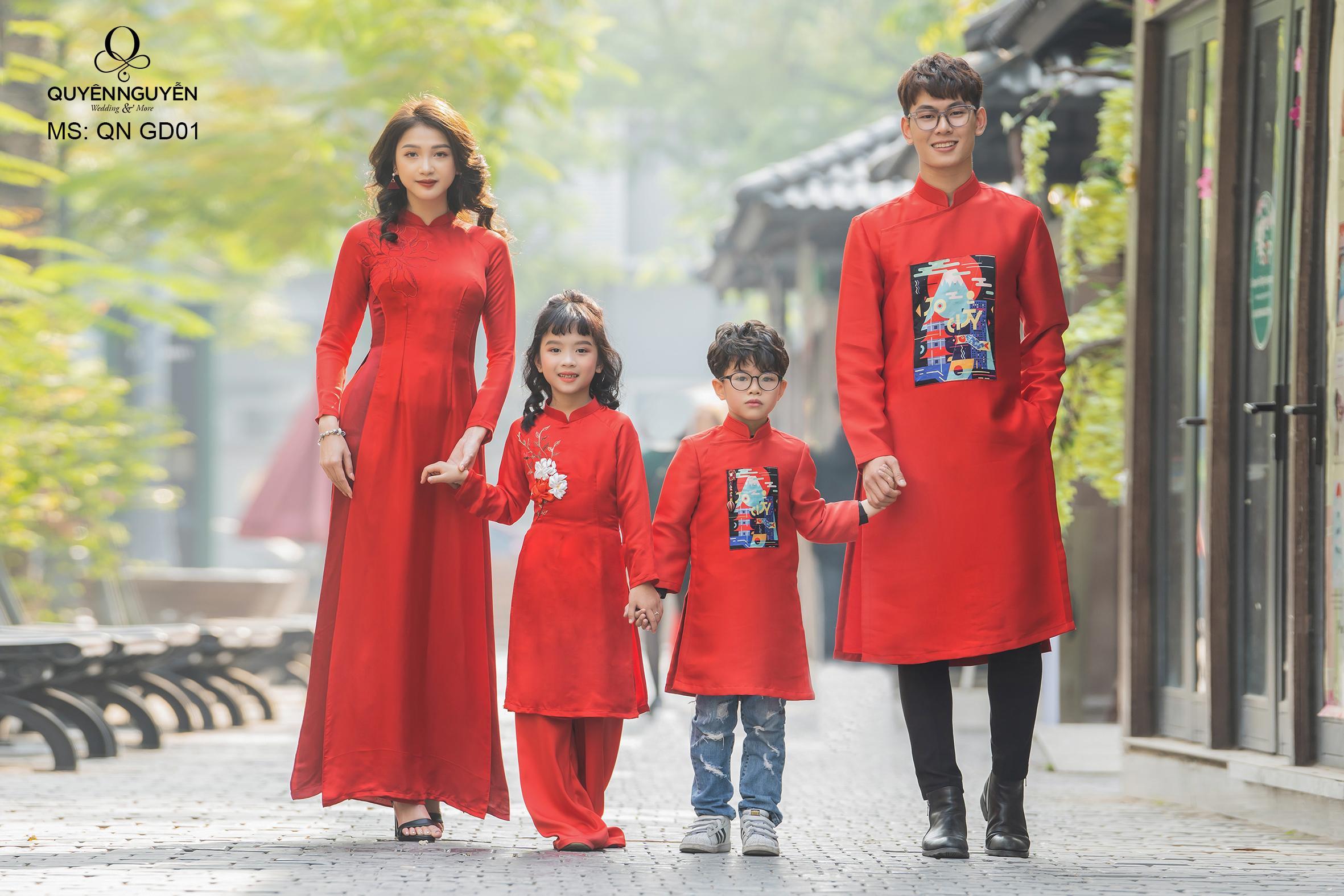 Áo dài gia đình màu đỏ QN GD01