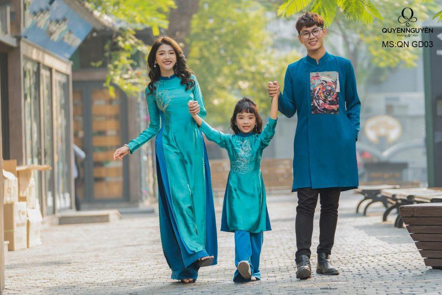 Áo dài gia đình màu xanh Navi QN GD01