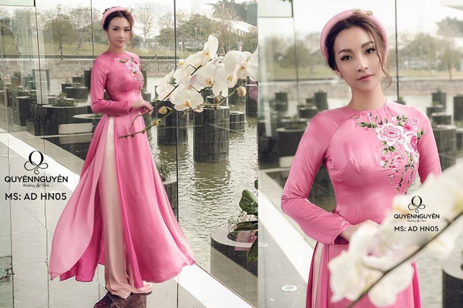 Tham khảo những mẫu áo dài cưới màu hồng của Quyên Nguyễn