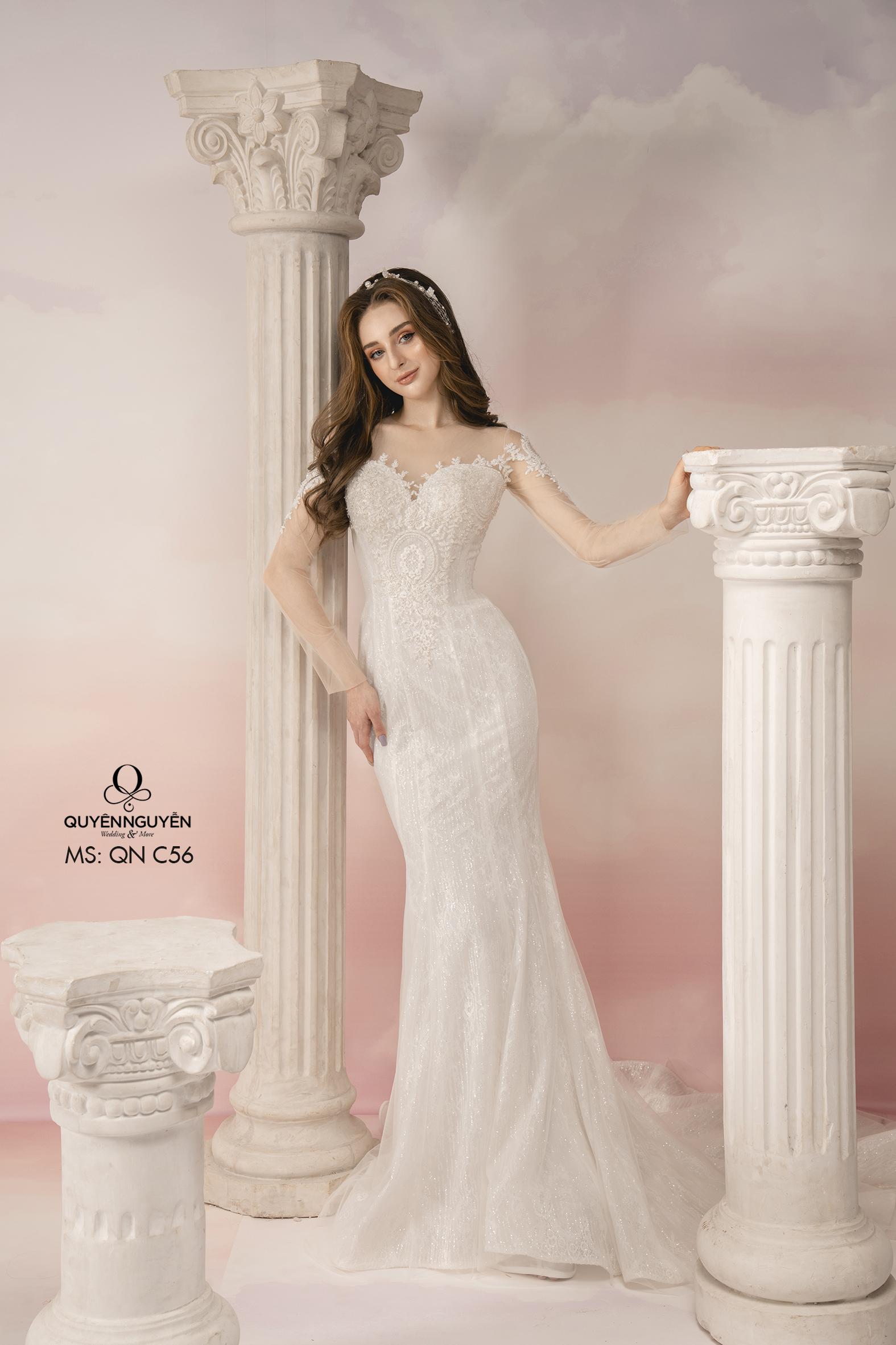 Váy cưới dài tay phối ren dáng đuôi cá