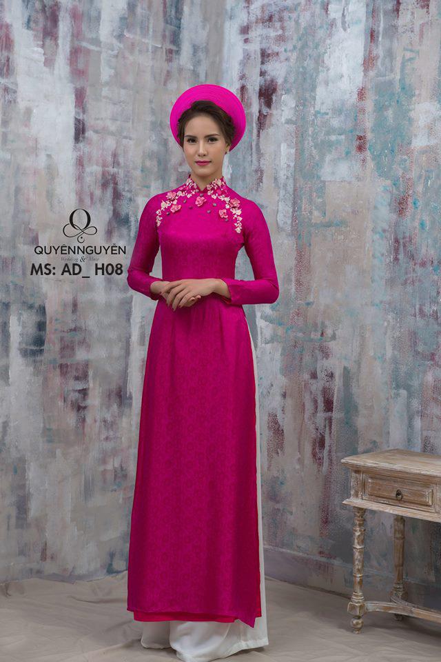 Áo dài lụa hồng cánh sen hoa nhí 3D