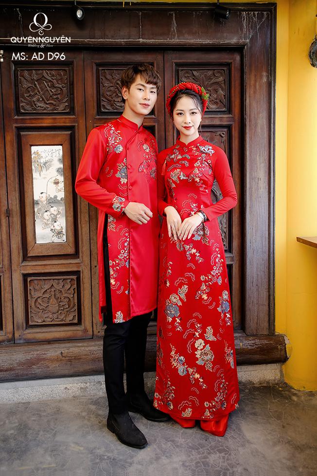 Áo dài cưới đỏ gấm hoa thêu tay