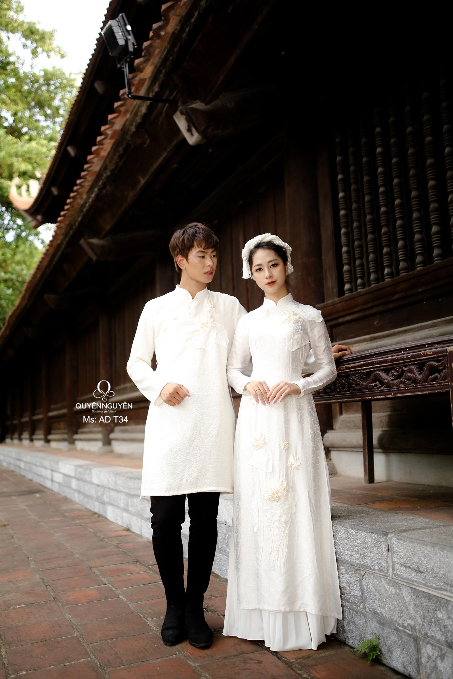 Áo dài cưới lụa trắng thêu sen 3D